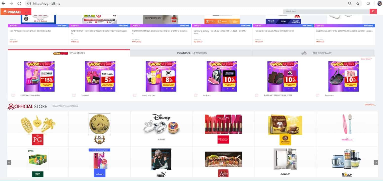 PG Mall aplikasi online senang dan lebih jimat