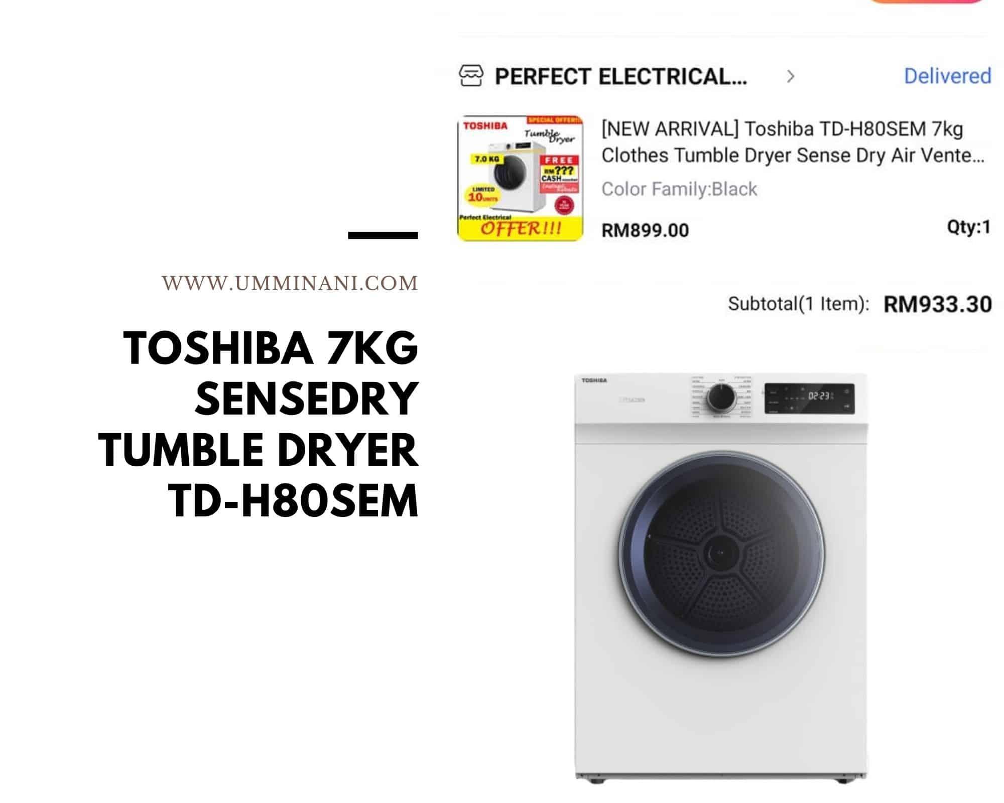 Toshiba 7KG Sensedry Tumble Dryer TD-H80SEM